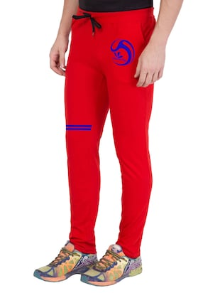red cotton  full length track pant - 14549631 - Standard Image - 2
