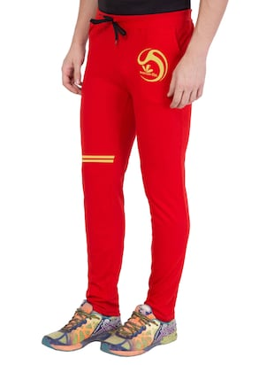 red cotton  full length track pant - 14549632 - Standard Image - 2