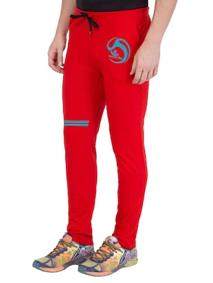 red cotton  full length track pant - 14549634 - Standard Image - 2