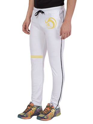 white cotton  full length track pant - 14549639 - Standard Image - 2