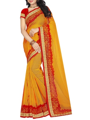 yellow cotton bandhani saree with blouse