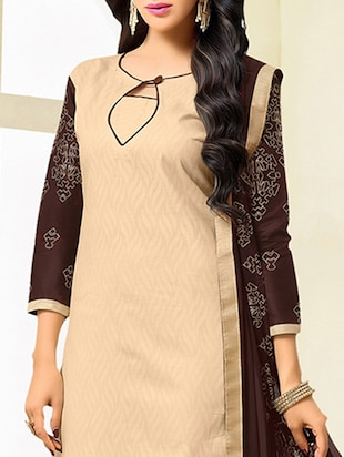 beige cotton blend unstitched dress material - 14552814 - Standard Image - 2
