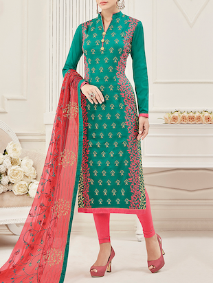Green cotton blend dress material