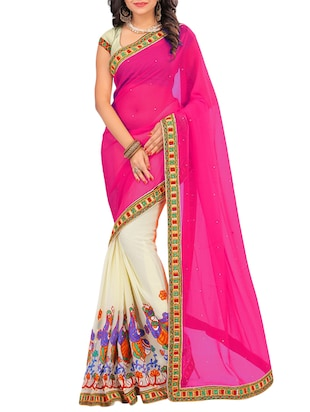pink half and half saree with blouse