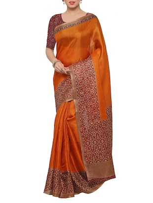 multi colored tussar silk combo saree with blouse - 14553712 - Standard Image - 2