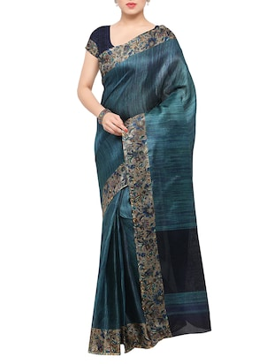 multi colored tussar silk combo saree with blouse - 14553743 - Standard Image - 2