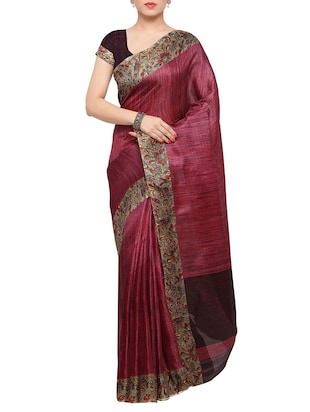 multi colored tussar silk combo saree with blouse - 14553772 - Standard Image - 2