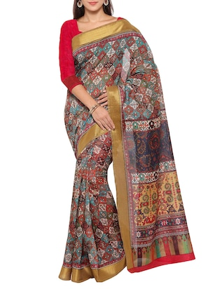 multi colored tussar silk combo saree with blouse - 14553811 - Standard Image - 2
