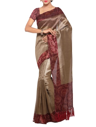 multi colored tussar silk combo saree with blouse - 14553892 - Standard Image - 2