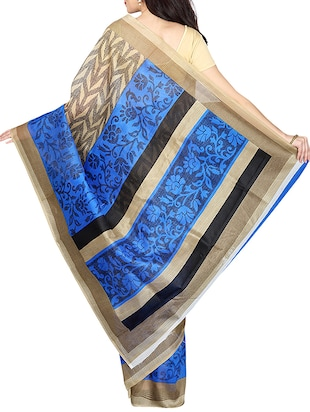beige & blue printed saree with blouse - 14555249 - Standard Image - 2