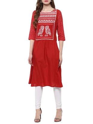 red cotton a-line kurta
