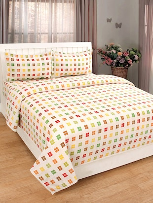 Pure Cotton Self Check Design Multi Double Bed Cover With 2 Pillow Cover