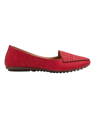 red faux leather slip on loafers - 14565098 - Standard Image - 2