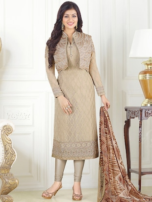 beige faux georgette semi-stitched churidaar suit