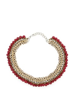 Gold And Silver Necklace With Magenta Stones - Jewellery By Anjali Jain