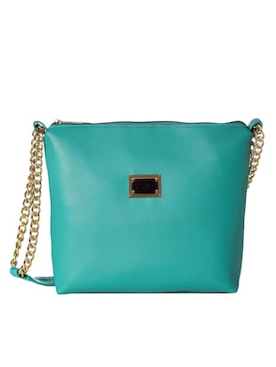 green leatherette  regular sling bag -  online shopping for sling bags