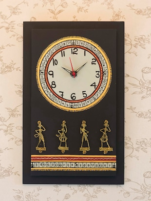 Antique Handpainted Warli and Dhokra Wooden Work Black Wall Clock with Dhokra Craft 16 Inch Tall