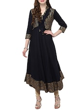 navy blue rayon flared kurta -  online shopping for kurtas