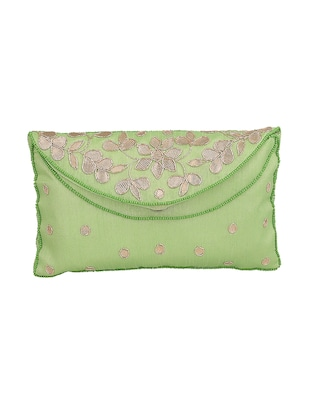 green silk ethnic clutch