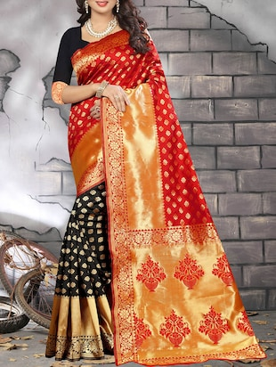 red woven saree