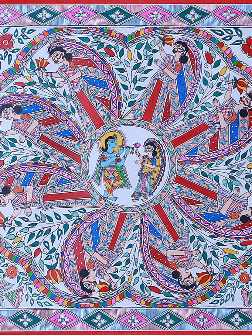 e371183e428 ... Madhubani Mithila Painting of radha krishna raas leela- dance of devine  love - 14593590 -