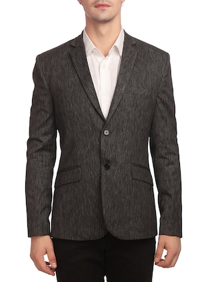 black cotton blend formal blazer