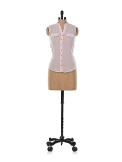 Light Pink Top With Gold Buttons - Aamod
