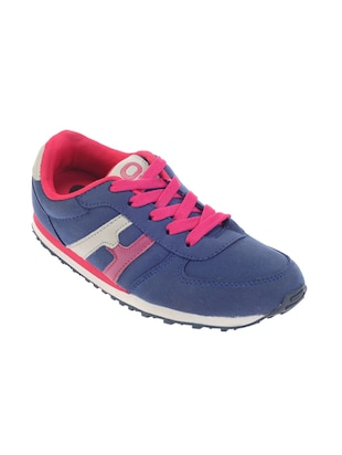 blue faux leather laceup sports shoes