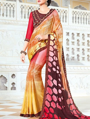 multi colored georgette printed saree with blouse - 14602076 - Standard Image - 1