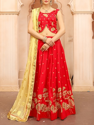 red silk flared lehenga