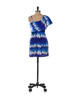 Blue One-shoulder Dress - Aamod