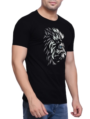 black cotton chest print tshirt - 14607216 - Standard Image - 2