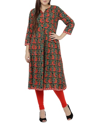 multi colored cotton flared kurta