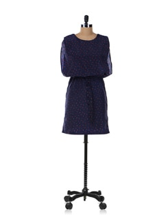 Navy Blue Printed Dress - Aamod