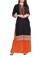 Chhabra 555 Black Printed Cotton Kurta - By
