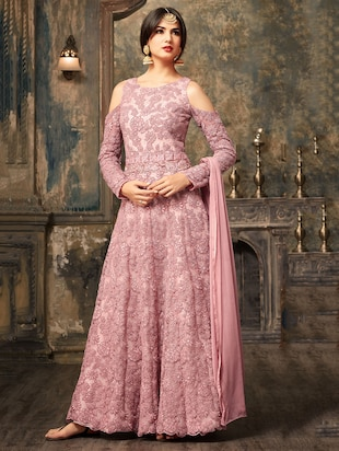 pink net flared semi-stitched suit