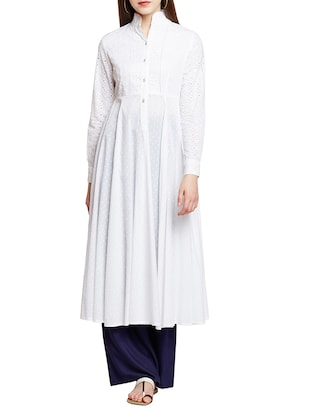 white cotton anarkali kurta