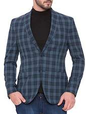 blue wool & polyester blend casual blazer -  online shopping for Casual Blazer