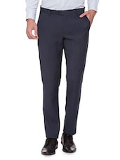 navy blue wool  formal trouser -  online shopping for Formal Trousers
