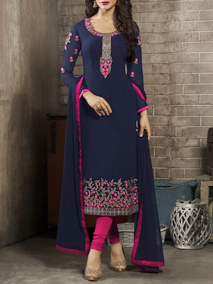blue churidaar suit dress material -  online shopping for Unstitched Suits