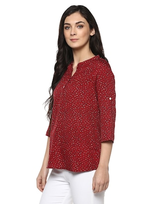 floral band collar top - 14618612 - Standard Image - 2