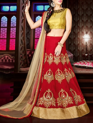 red poly silk panelled lehenga