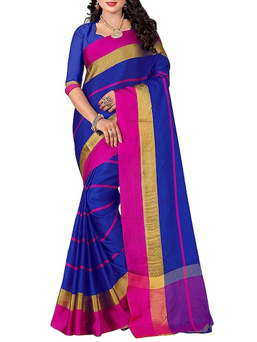 blue cotton blend chanderi saree with blouse - 14628492 - Standard Image - 1