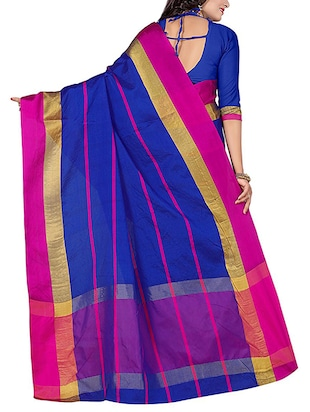 blue cotton blend chanderi saree with blouse - 14628492 - Standard Image - 2