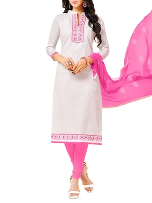 white cotton churidaar suits dress material