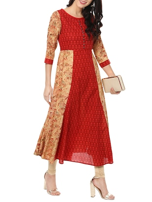 red cotton flared kurta