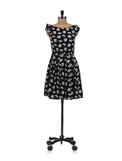 Black Floral Dress - Aamod
