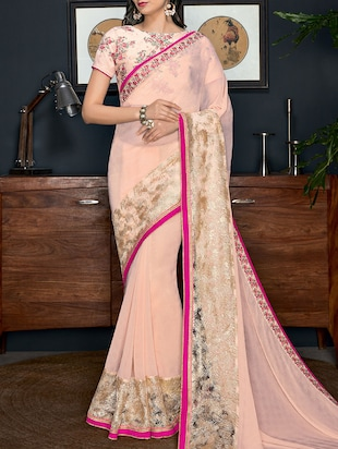 peach georgette embroidered saree with blouse