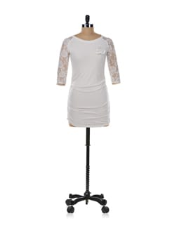 Off-white Tunic Top With Lace Work - Aamod