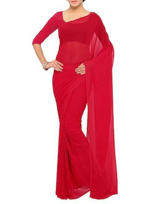 red georgette plain saree